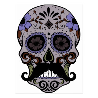 Día del cráneo muerto w Mustache del azúcar Postal
