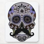 Día del cráneo muerto w/Mustache del azúcar Tapete De Ratones