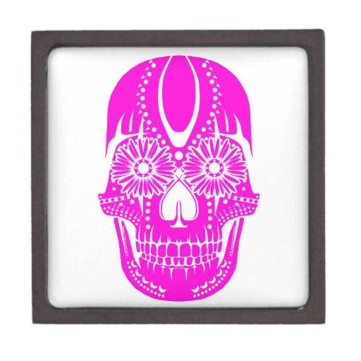 Día del cráneo rosado muerto cajas de recuerdo de calidad
