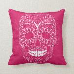 Día del cráneo rosado muerto cojines