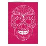 Día del cráneo rosado muerto tarjetón