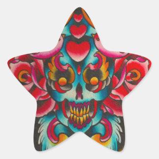 Día del cráneo y de los pájaros muertos pegatina en forma de estrella