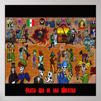 día del dead2, Fiesta Dia de los Muertos Póster