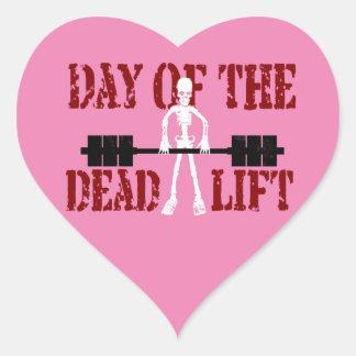 Día del DeadLift Pegatina En Forma De Corazón