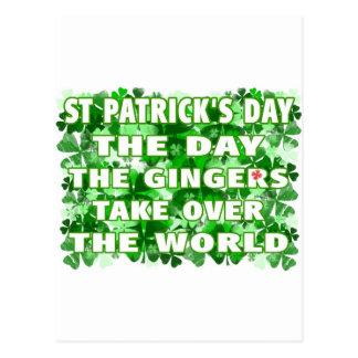 Día del Día- del St Patricks los jengibres asumen Tarjetas Postales
