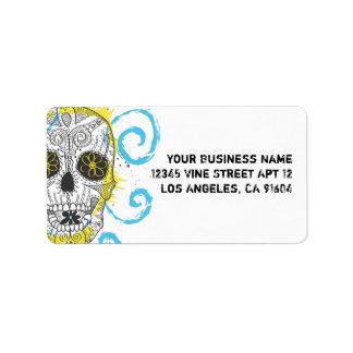 Día del diseño cómico del tatuaje del cráneo etiquetas de dirección