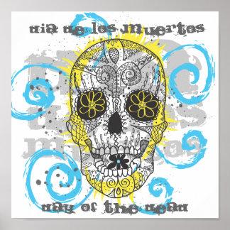 Día del diseño cómico del tatuaje del cráneo muert impresiones