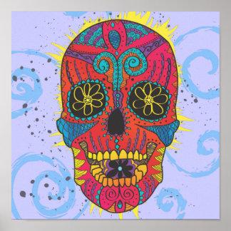 Día del diseño cómico del tatuaje del cráneo muert posters