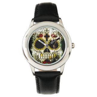 Día del diseño muerto del Grunge del cráneo del Reloj De Mano