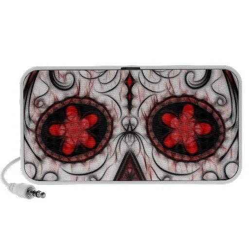 Día del fractal rojo y negro muerto del cráneo del iPod altavoz