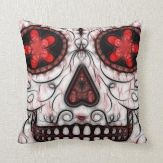 Día del fractal rojo y negro muerto del cráneo del almohadas