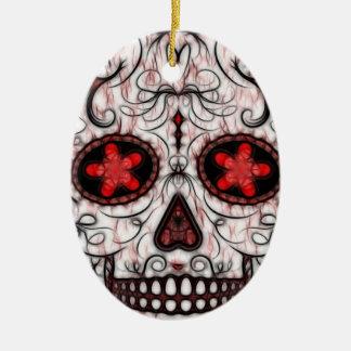 Día del fractal rojo y negro muerto del cráneo del ornamentos de reyes