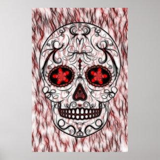 Día del fractal rojo y negro muerto del cráneo del posters