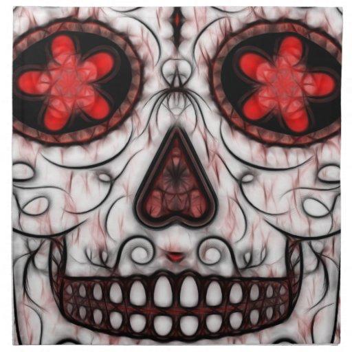 Día del fractal rojo y negro muerto del cráneo del servilleta de papel