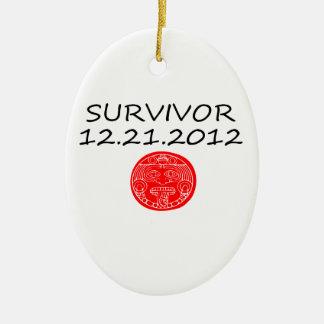 Día del juicio final maya 12 del superviviente 21 adorno ovalado de cerámica