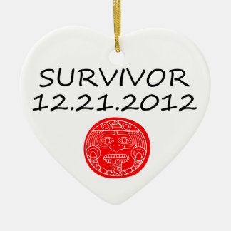 Día del juicio final maya 12 del superviviente 21 adorno de cerámica en forma de corazón