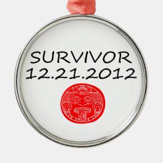 Día del juicio final maya 12 del superviviente 21 adorno redondo plateado