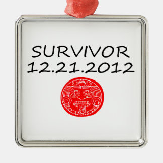 Día del juicio final maya 12 del superviviente 21 adorno cuadrado plateado