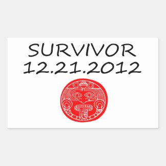 Día del juicio final maya 12 del superviviente 21 pegatina rectangular