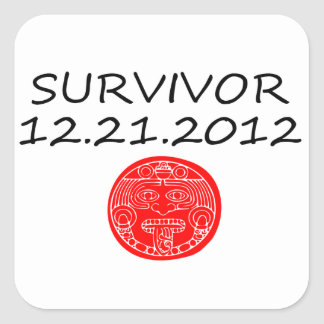 Día del juicio final maya 12 del superviviente 21 pegatina cuadrada