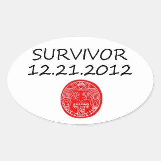 Día del juicio final maya 12 del superviviente 21 pegatina ovalada
