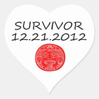 Día del juicio final maya 12 del superviviente 21 pegatina en forma de corazón