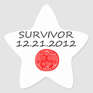 Día del juicio final maya 12 del superviviente 21 pegatina en forma de estrella