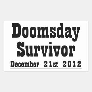 Día del juicio final superviviente 21 de diciembre pegatina rectangular