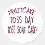 Día del lanzamiento del Fruitcake Pegatina Redonda