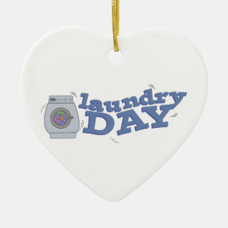 Día del lavadero adorno de cerámica en forma de corazón