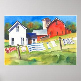Día del lavado en la granja póster