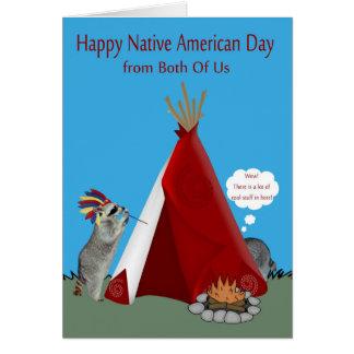 Día del nativo americano nosotros dos tarjeta de felicitación