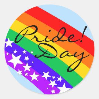 ¡Día del orgullo del Arco iris-Gay! Pegatina Redonda