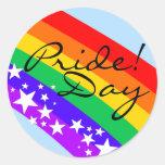 ¡Día del orgullo gay del arco iris! Pegatina Redonda