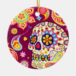 Día del ornamento muerto del cráneo adorno navideño redondo de cerámica