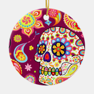 Día del ornamento muerto del cráneo ornamentos de navidad