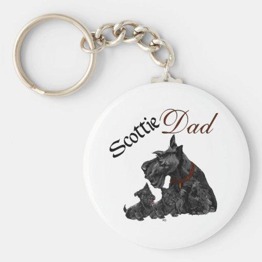 Día del papá del escocés y de padre de los perrito llaveros personalizados