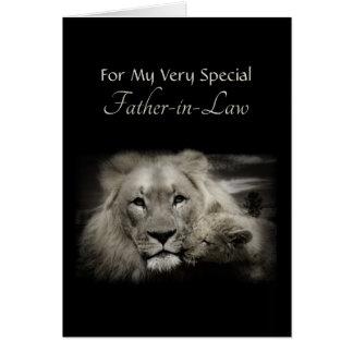 Día del papá del león y de padre de Cub para el Tarjeta De Felicitación