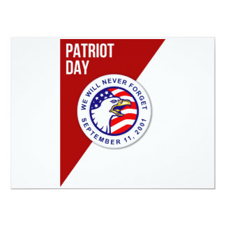 Día del patriota nunca olvidaremos el poste del 11 invitación 16,5 x 22,2 cm