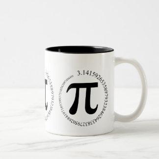 Día del pi (π) taza de dos tonos