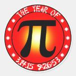 Día del pi - año de pi 3/14/15 9:26: 53 pegatina redonda