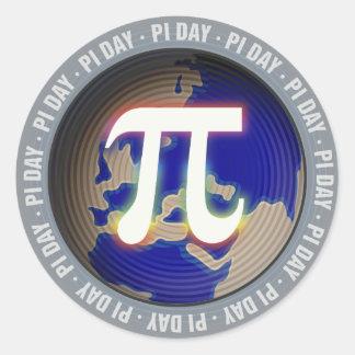 Día del pi en matemáticas de la tierra el | pegatina redonda
