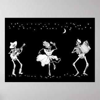 Día del poster muerto de los esqueletos del baile