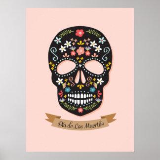 Día del poster muerto del cráneo del azúcar - negr póster