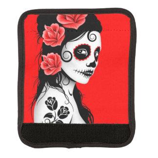 Día del rojo muerto del chica del cráneo del azúca cobertura para asa de maleta