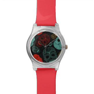 Día del rojo y del azul muertos del arte del relojes de pulsera