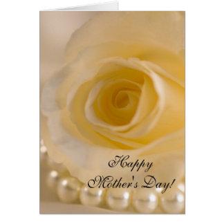 Día del rosa blanco y de madres de las perlas tarjeta de felicitación
