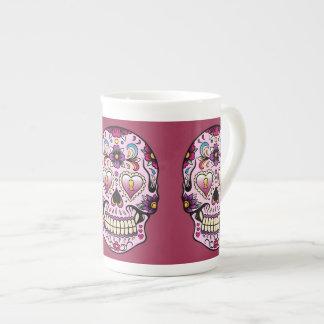 Día del rosa muerto del cráneo del azúcar taza de porcelana