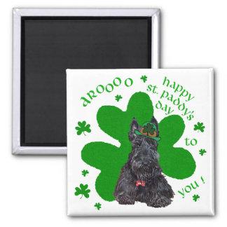 Día del St. Paddys de Terrier del escocés Imán Cuadrado