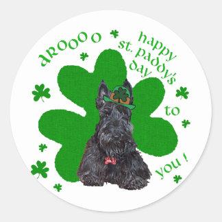 Día del St. Paddys de Terrier del escocés Pegatina Redonda